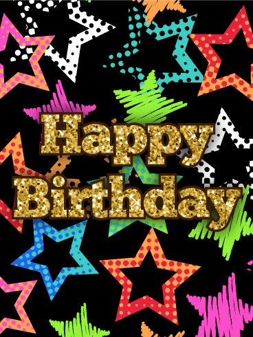 Colorful Stars Happy Birthday Card