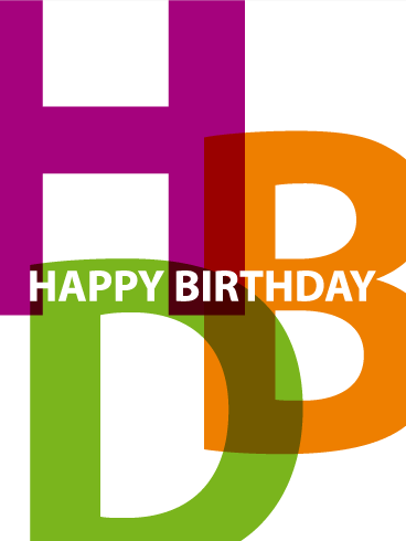 Colorful Happy Birthday Text Card