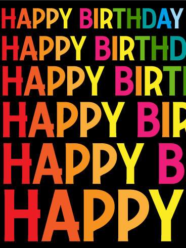 Rainbow Texts Happy Birthday Card