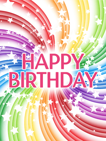 Transparent Rainbow Happy Birthday Card