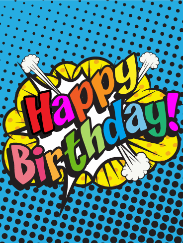 Comic Design Happy Birthday Card