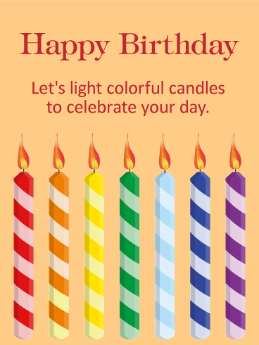 Let's Light Colorful Candles! Happy Birthday Card