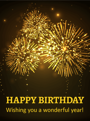 Sparkling Fireworks Happy Birthday Card