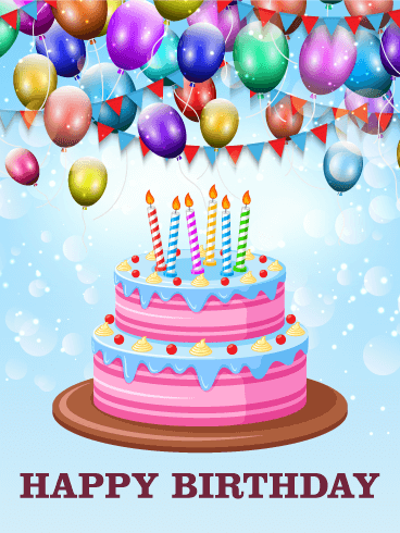 Lets Celebrate with Delicious Cake Happy Birthday Card Birthday