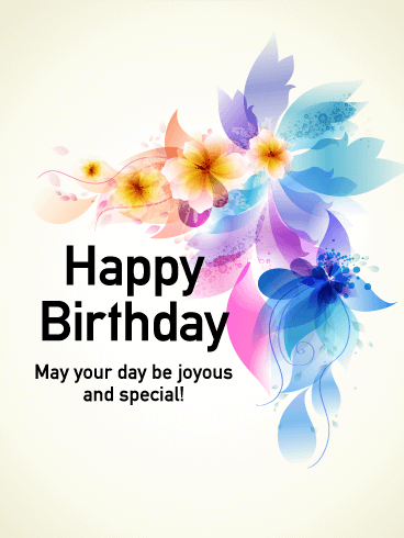 Graceful Flower Happy Birthday Card