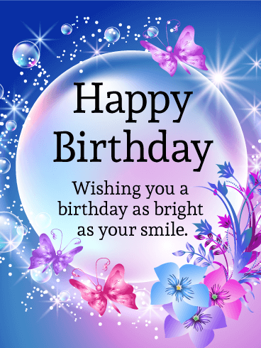 Shining Bubble Happy Birthday Card Birthday Greeting Cards by Davia