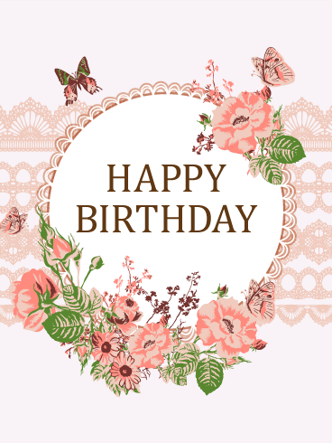 Luxurious Flower & Butterfly Birthday Card