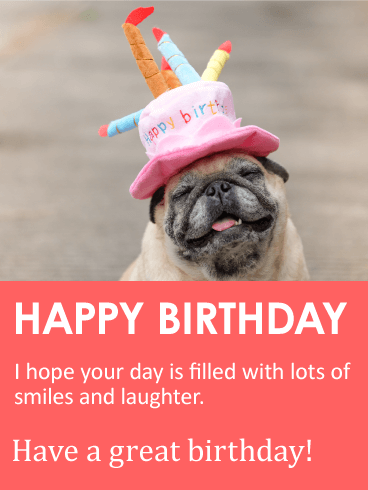 Smiling Pug Happy Birthday Card Birthday Greeting Cards By Davia