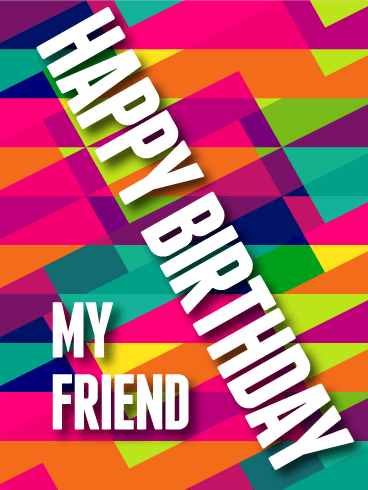 Modern Art Happy Birthday Card for Friends