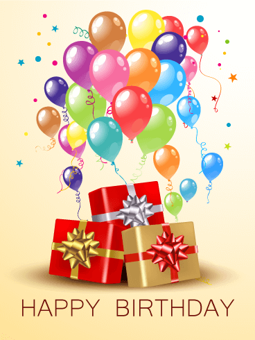 Birthday Balloons & Gift Boxes Card