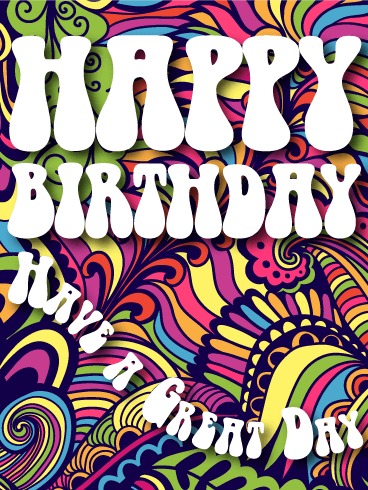 Hippy Style Happy Birthday Card
