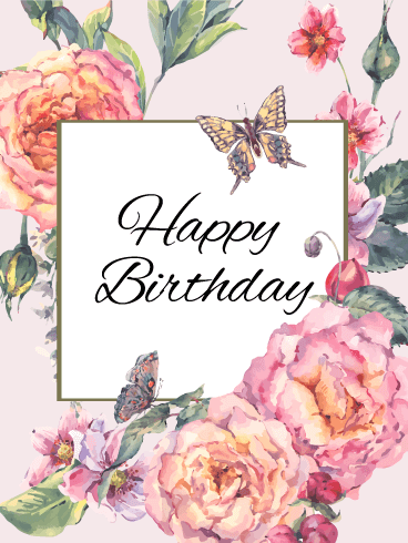 Elegant Flower Happy Birthday Card