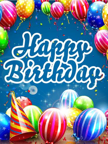 Shinning Colorful Birthday Balloon Card Birthday Greeting
