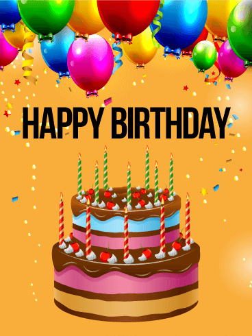 Miraculous Vivid Birthday Balloon Cake Card Birthday Greeting Cards By Personalised Birthday Cards Veneteletsinfo