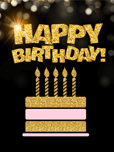 Golden Birthday Cake Card