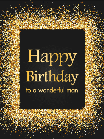 Golden Sparkle Happy Birthday Card