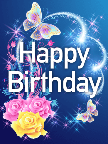 Shining Rose Butterfly Happy Birthday Card