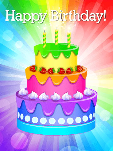 rainbow birthday Rainbow Birthday Cake Card | Birthday & Greeting Cards by Davia rainbow birthday
