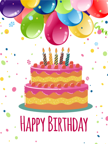 Colorful Birthday Balloon & Cake Card