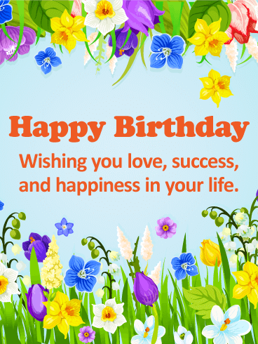 Flower Garden Happy Birthday Card