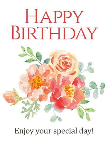 Pained Design Flower Happy Birthday Card