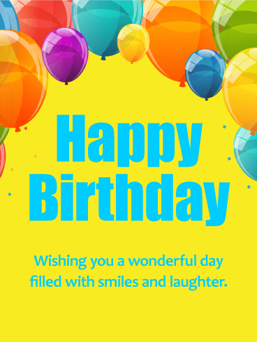 Wishing You a Wonderful Day! Colorful Happy Birthday Card