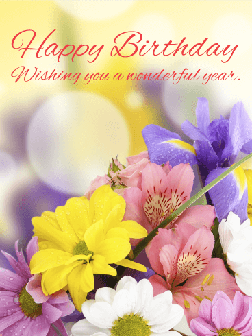 Lovely & Gorgeous Flower Happy Birthday Card