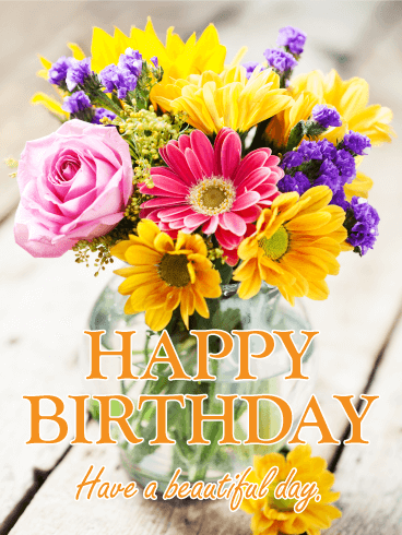 happy birthday flowers image Fresh Flower Bouquet Happy Birthday Card | Birthday & Greeting  happy birthday flowers image