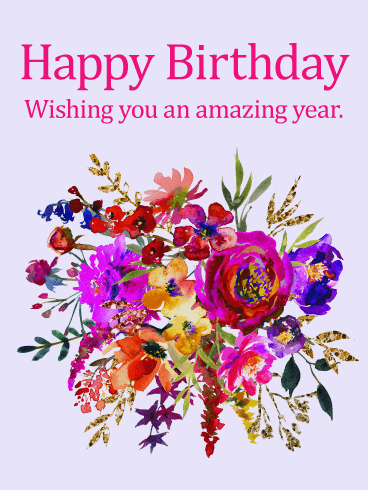 Painted Flower Design Happy Birthday Card