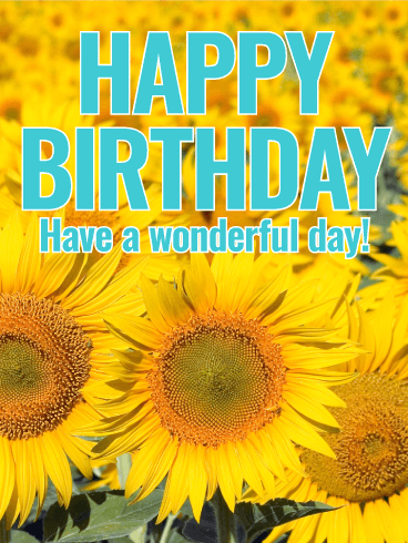 Joyful Sunflower Happy Birthday Card