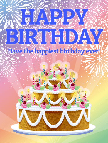 Pastel Rainbow Happy Birthday Card