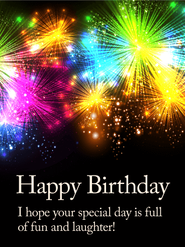 Shining Fireworks Happy Birthday Card