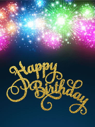 Glowing Fireworks Happy Birthday Card