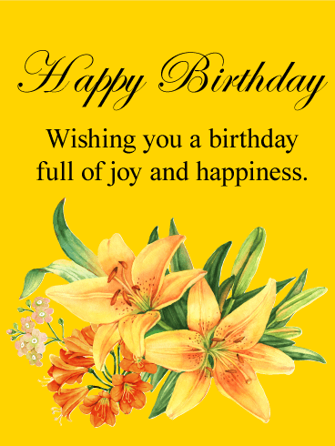 Yellow Lily Happy Birthday Card Birthday Greeting Cards By Davia
