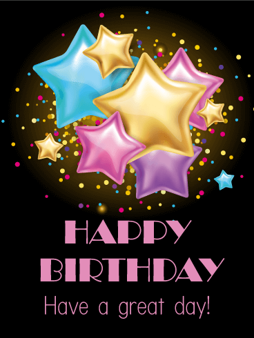 Twinkle Stars Happy Birthday Card