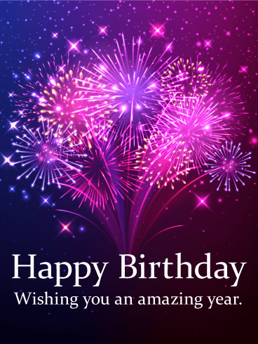 Pink & Purple Fireworks Birthday Card