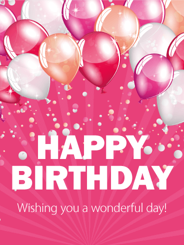 Pink & Shinny Birthday Balloon Card