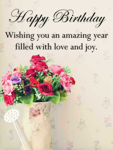 Vintage Flower Bouquet Happy Birthday Card