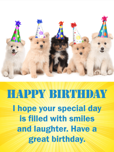 Five Festive Pomeranian Happy Birthday Card