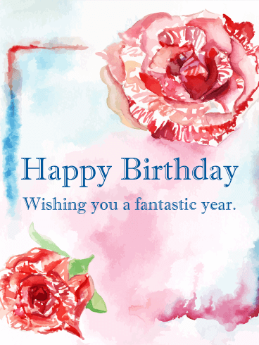 Watercolor Rose Happy Birthday Card