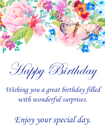 Watercolor Flower & Butterfly Happy Birthday Card
