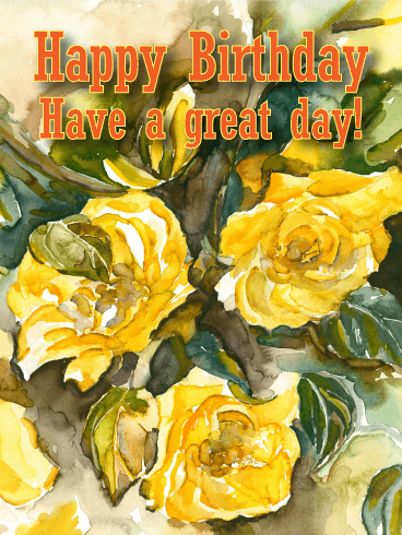 Painted Rose Happy Birthday Card
