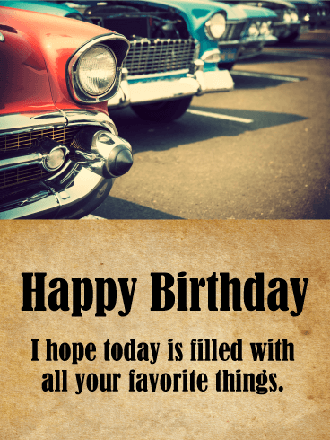 Classic Car Happy Birthday Card