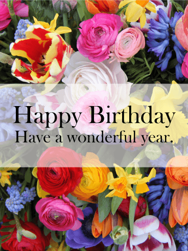 Vivid Flower Happy Birthday Card