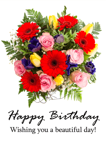 Gorgeous Flower Bouquet Hy Birthday Card