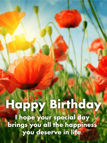 Pretty Poppies Happy Birthday Card