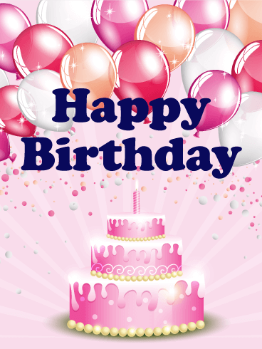 Pink Birthday Balloon & Cake Card
