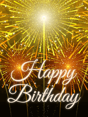Golden Sparked Fireworks Happy Birthday Card