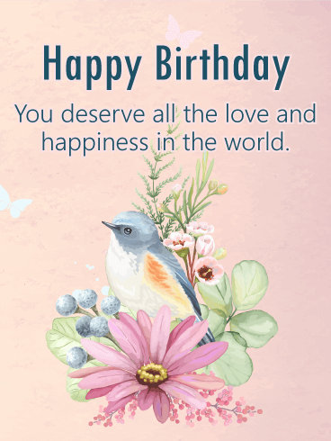 Beautiful Bird Happy Birthday Card