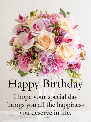 Spectacular Flower Bouquet Happy Birthday Card